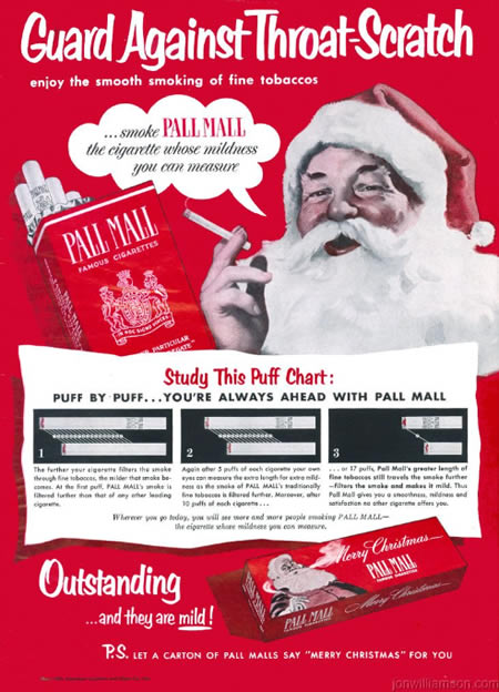 Vintage Christmas Pall Mall Advertisment