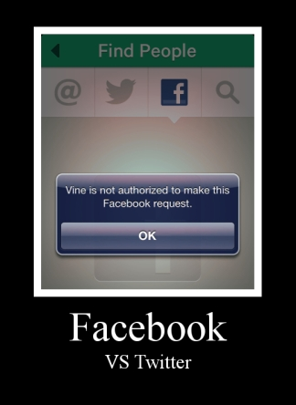 Facebook VS Vine Blocked